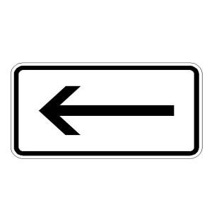 Verkehrszeichen (1000-10) -Zusatzszeichen nach StVO Richtung linksweisend