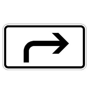 Verkehrszeichen (1000-21) -Zusatzszeichen nach StVO Richtung der Gefahrenstelle, rechtsweisend