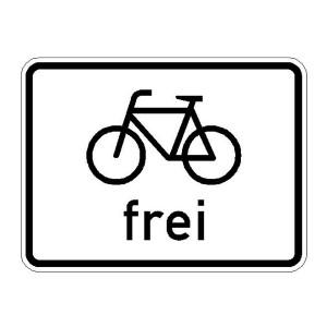 Verkehrszeichen (1022-10) --Zusatzszeichen nach StVO Radfahrer frei