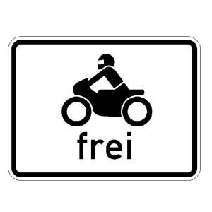 Verkehrszeichen (1022-12) --Zusatzszeichen nach StVO Krafträder, auch mit Beiwagen, Kleinkrafträder und Mofas frei