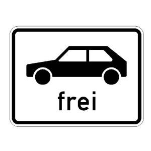 Verkehrszeichen (1024-10) --Zusatzszeichen nach StVO Personenkraftwagen frei