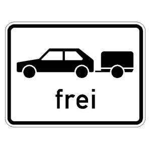 Verkehrszeichen (1024-11) --Zusatzszeichen nach StVO Personenkraftwagen mit Anhänger frei