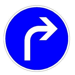 Verkehrszeichen (209-20) -  StVO Vorgeschriebene Fahrtrichtung - rechts
