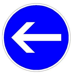 Verkehrszeichen (211-10) -  StVO Vorgeschriebene Fahrtrichtung - hier links