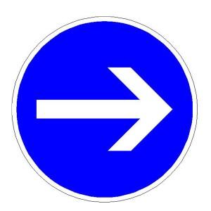 Verkehrszeichen (211-20) -  StVO Vorgeschriebene Fahrtrichtung - hier rechts