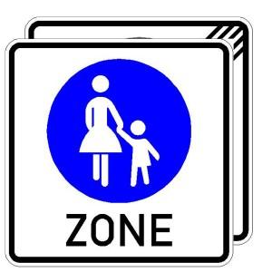 Verkehrszeichen (243-40) -  StVO Beginn/Ende eines Fußgängerbereichs (doppelseitig)