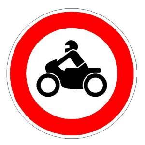 Verkehrszeichen (255) -  StVO Verbot für Krafräder, auch mit Baiwagen, Kleinkrafträder und Mofas