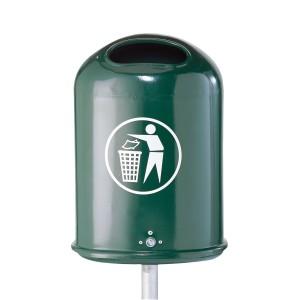 Abfallbehälter oval feuerverzinkt und beschichtet RAL 6005 Produktbeispiel