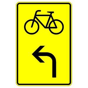Verkehrszeichen (442-10)-  StVO Vorwegweiser für Fahrradfahrer (linksweisend)