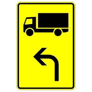 Verkehrszeichen (442-11)-  StVO Vorwegweiser für Lastkraftwagen (linksweisend)