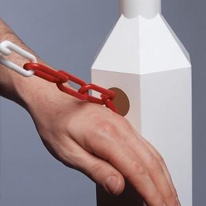 Vario-Absperrpfosten rot/weiß mit Kunststoffkette