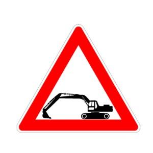 Kinder Baustellenschild Motiv: Kettenbagger