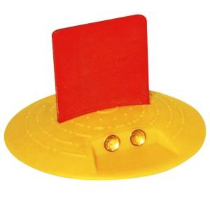 Markierungsknopf Ø 120 mm,gelb, mit Fähnchen zum Aufkleben
