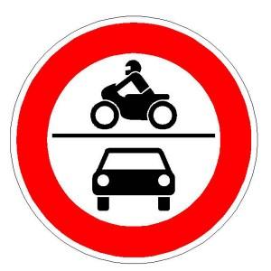Verkehrszeichen (260) - StVO Verbot für Krafräder, auch mit Beiwagen,Kleinkrafträder und Mofas, sowie für Kraftwagen und sonstige mehrspurige Kraftfahrzeuge