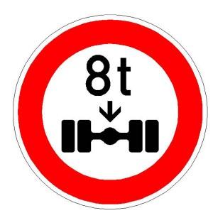 Verkehrszeichen 263 - StVO Verbot für Fahrzeuge über angegebenes tatsächliche Achslast