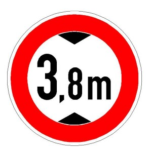 Verkehrszeichen (265) - StVO Verbot für Fahrzeuge über angegebene Höhe einschließlich Ladung